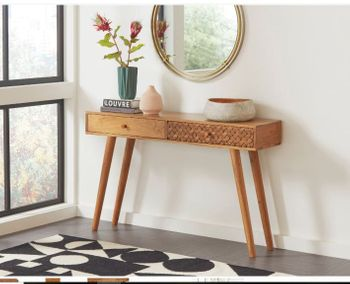 2-Drawer Console Table Natural Brown