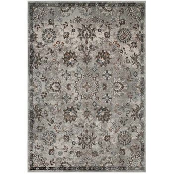 HANA DISTRESSED VINTAGE FLORAL LATTICE 5X8 AREA RUG IN SILVER BLUE, BEIGE AND BROWN
