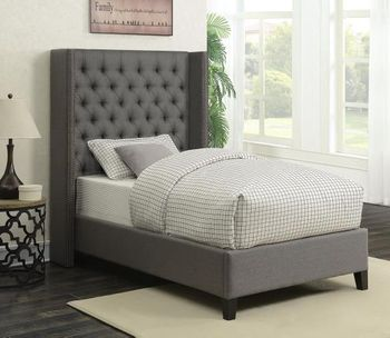 Benicia Upholstered Twin Bed with Demi-Wings and Button Tufting