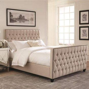 Saratoga Upholstered Queen Bed with Button Tufting