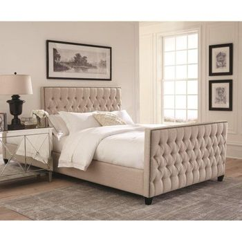 Saratoga Upholstered Twin Bed with Button Tufting