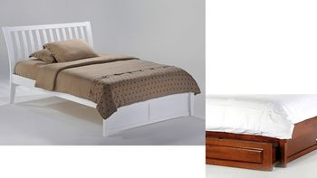 Nutmeg Full Platform bed with 2 short storage drawers- P Series/ 10 Year Warranty