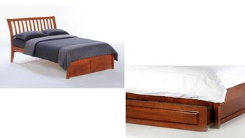 Nutmeg King Platform bed with 2 short storage drawers- P Series/ 10 Year Warranty