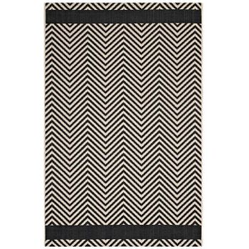 OPTICA CHEVRON WITH END BORDERS 8X10 INDOOR AND OUTDOOR AREA 1141C RUG IN BLACK AND BEIGE