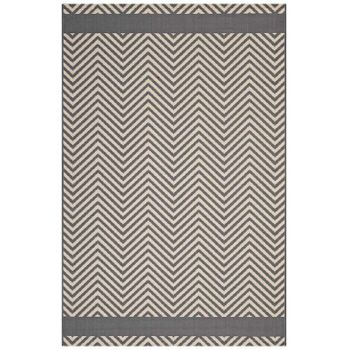 OPTICA CHEVRON WITH END BORDERS 8X10 INDOOR AND OUTDOOR AREA 1141B RUG IN GRAY AND BEIGE