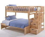 Peppermint Twin/Full Size bunk Bed with Staircase - 10-year warranty
