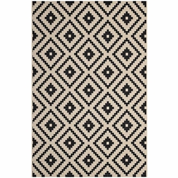PERPLEX GEOMETRIC DIAMOND TRELLIS INDOOR AND OUTDOOR AREA RUG IN BLACK AND BEIGE