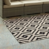 PERPLEX GEOMETRIC DIAMOND TRELLIS 8X10 INDOOR AND OUTDOOR AREA RUG IN BLACK AND BEIGE
