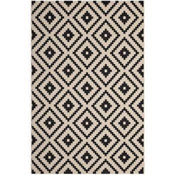 PERPLEX GEOMETRIC DIAMOND TRELLIS 8X10 INDOOR AND OUTDOOR AREA 1134A RUG IN BLACK AND BEIGE