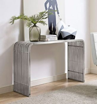 Pipe Stainless Steel Console Table in Silver 2104
