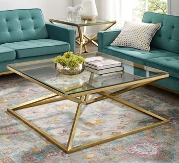 """Point 39.5"""" Brushed Gold Metal Stainless Steel Coffee Table in Gold"""