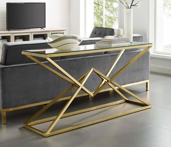 "Point 59"" Brushed Gold Metal Stainless Steel 3613 Console Table in Gold"