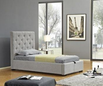 Prague Twin Storage Bed in Light Grey Fabric