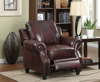 Princeton Rolled Arm Push Back Recliner Burgundy