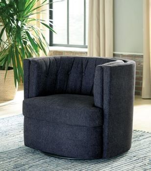 Recessed Arm Tufted Back Swivel Chair