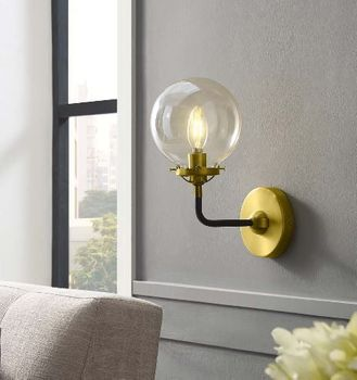 Reckon Amber Glass and Brass Wall Sconce Light 2885