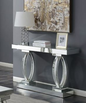 Rectangular Sofa Table With Shelf Clear Mirror 722519