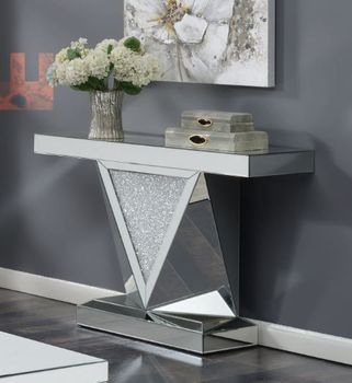 Rectangular Sofa Table With Triangle Detailing Silver And Clear Mirror 722509
