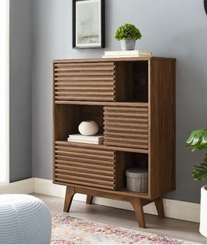 Render Three-Tier Display Storage 3343 Cabinet Stand in Walnut