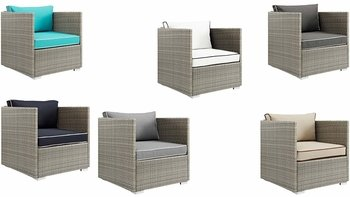 REPOSE OUTDOOR PATIO ARMCHAIR IN LIGHT GRAY