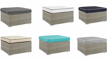 REPOSE OUTDOOR PATIO UPHOLSTERED FABRIC OTTOMAN IN LIGHT GRAY