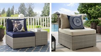 REPOSE SUNBRELLA® FABRIC OUTDOOR PATIO 2959 ARMLESS CHAIR IN LIGHT GRAY