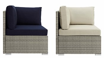 REPOSE SUNBRELLA® FABRIC OUTDOOR PATIO 2957 CORNER IN LIGHT GRAY