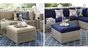 REPOSE SUNBRELLA® FABRIC OUTDOOR PATIO OTTOMAN IN LIGHT GRAY