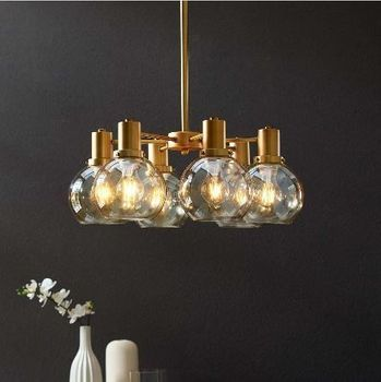Resound Amber Glass And Brass Pendant Chandelier 3272