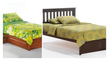 Rosa Mission queen platform bed with short Two storage drawers - P series / 10 years warranty