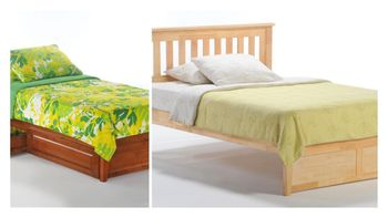 Rosa Mission platform Twin bed with short Two storage drawers - P series/  10 Year Warranty