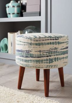 Round Accent Stool Blue And White 918493
