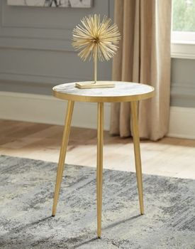 Round Accent Table White And Gold 930060