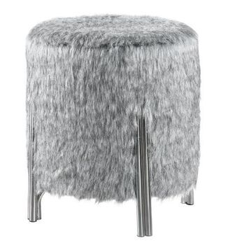 Round Faux Fur Upholstered Ottoman Grey # 914120