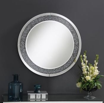 Round Wall Mirror With LED Lighting Silver 961428