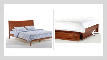 Saffron Platform King bed with 2 Short storage drawers- P Series/  10 Year Warranty
