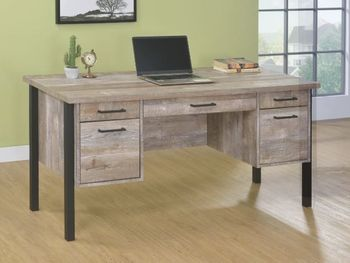 Samson 4-Drawer Office Desk Weathered Oak