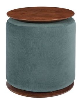 Seanna Accent Table With Round Ottoman Teal And Walnut