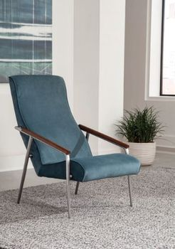Seanna Wooden Arm High Back Accent Chair Teal