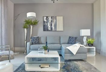 Nashua 2-Piece Reversible Sectional With Storage Ottoman French Blue # 509327