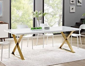 Sector Dining Table in White Gold