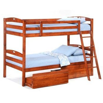 Sesame Twin/Twin Size Bunk Bed with storage set - 5-year warranty