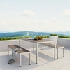 SHORE 3 PIECE OUTDOOR PATIO ALUMINUM DINING SET IN SILVER GRAY