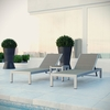 SHORE 3 PIECE OUTDOOR PATIO ALUMINUM SET IN SILVER GRAY