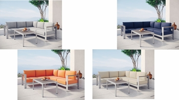 SHORE 4 PIECE OUTDOOR PATIO ALUMINUM SECTIONAL SOFA SET IN SILVER