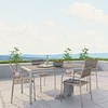 SHORE 5 PIECE OUTDOOR PATIO ALUMINUM DINING SET IN SILVER GRAY