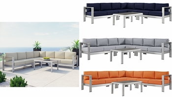 SHORE 6 PIECE OUTDOOR PATIO ALUMINUM SECTIONAL SOFA SET IN SILVER