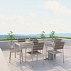 SHORE 7 PIECE OUTDOOR PATIO ALUMINUM DINING SET IN SILVER GRAY