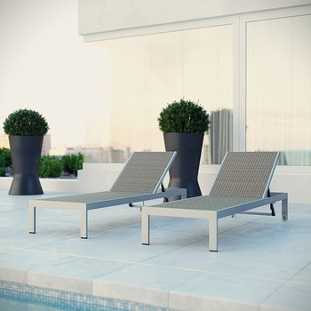 SHORE CHAISE OUTDOOR PATIO ALUMINUM SET OF 2 IN SILVER GRAY