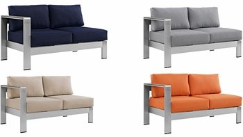 SHORE 2265 LEFT-ARM CORNER SECTIONAL OUTDOOR PATIO ALUMINUM LOVESEAT